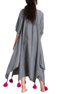 Grey striped asymmetric dress