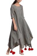 Grey asymmetrical khadi dress