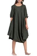 Military green cowl dress