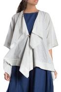 White draped short jacket