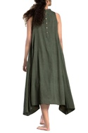 Military green paneled asymmetrical dress