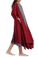 Red asymmetrical hand-woven linen jacket
