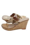 Gold velvet embroidered wedge heels