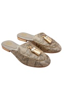 Gold snake embossed leather mules