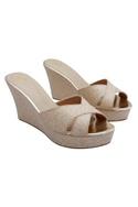 Beige & gold wedge heels