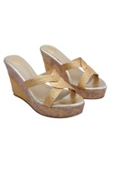 Gold braided cord strappy wedges