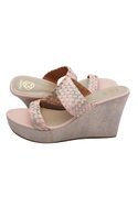Peach & gold strappy wedges