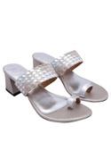 Silver 2.5-inch block heels