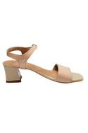 Beige ankle & front strap sandals
