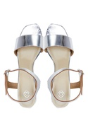Silver front and back silver strap sandals
