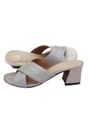 Silver criss-cross strap sandals