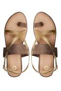 Gold & brown criss-cross strap sandals