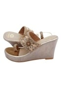 Gold bridal embroidered wedges