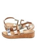 Silver & rose gold multiple strapped sandals