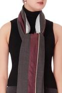 Grey color-block wool scarf
