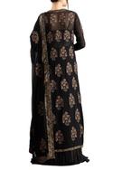 Black chiffon boota & sequins work jacket with lehenga & dupatta