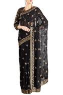 Black chiffon silk boota embroidered sari with blouse