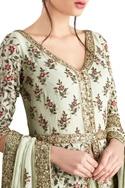 Mint green chiffon jaal embroidered jacket set