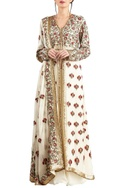 Off white chiffon embroidered jacket with palazzo & dupatta