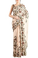 Peach chiffon embroidered sari & blouse