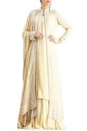 Yellow lucknowi pearl embellished chiffon jacket set