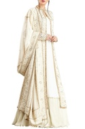 Off-white & gold lucknowi thread embroidered & bead work jacket set