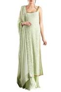 Mint green sequin & kachra bead embellished chiffon kurta set