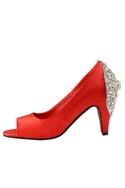 Red swarovski peep-toe heels