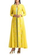 Yellow dupion silk jacket set
