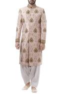 Pink brocade zari work sherwani with off white dhoti pants