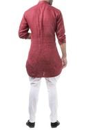 Maroon linen solid classic kurta with pants