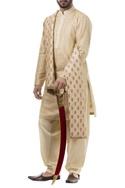 Beige silk zardozi kurta with salwar