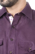 Purple linen solid kurta with salwar
