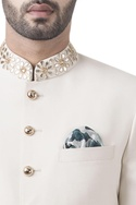 Off white wool & polyester gotta work sherwani with jodhouri pants