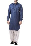 Royal blue linen thread work classic kurta with salwar