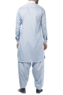 Sky blue cotton solid pathani kurta with salwar