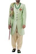 Light green raw silk resham embroidered sherwani with salwar