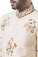 Golden raw silk zardozi sherwani with dhoti