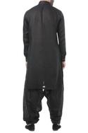 Black linen thread work classic kurta with patiala pants