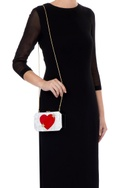 White & red acrylic heart clutch bag
