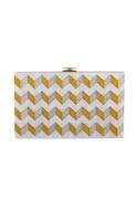 Gold & silver acrylic zig zag design clutch bag