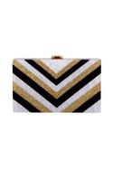 Black & gold acrylic abstract design clutch bag