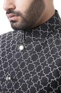Black silk thread embroidered bandhgala set