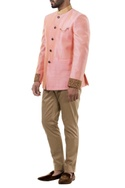 Pink silk bandhgala jacket with trousers