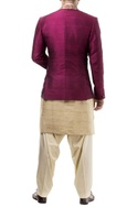 Maroon silk notched lapel jacket with kurta and salwar