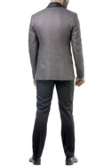 Ash grey single breasted zardozi jacket with shirt, trousers & bow tie