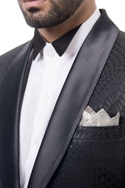 Black wool tuxedo wool blazer set