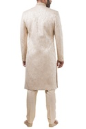 Beige brocade pearl embroidered sherwani with trousers
