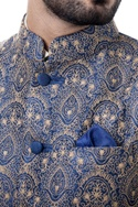 Navy blue silk nehru jacket