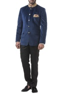 Navy blue velvet zardozi bandhgala with trousers